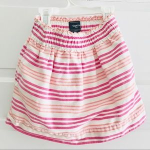 GAP kids pink white orange stripe skirt pockets